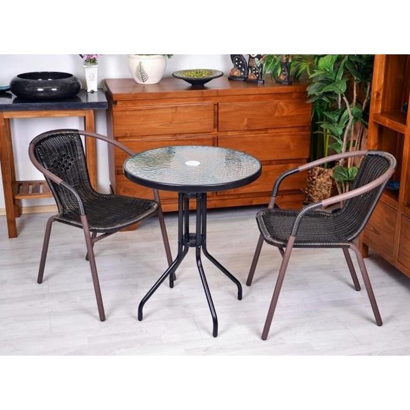 Set bistrot tavolino e 2 sedie marroni per arredamento for Arredamento esterno bar