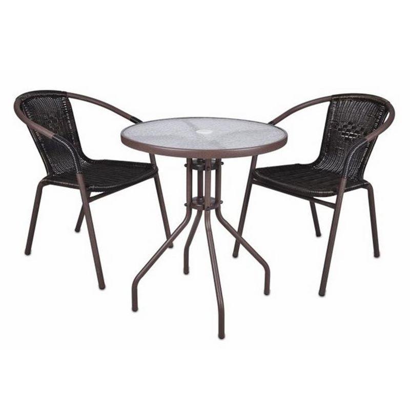 Set bistrot tavolino e 2 sedie marroni per arredamento ...
