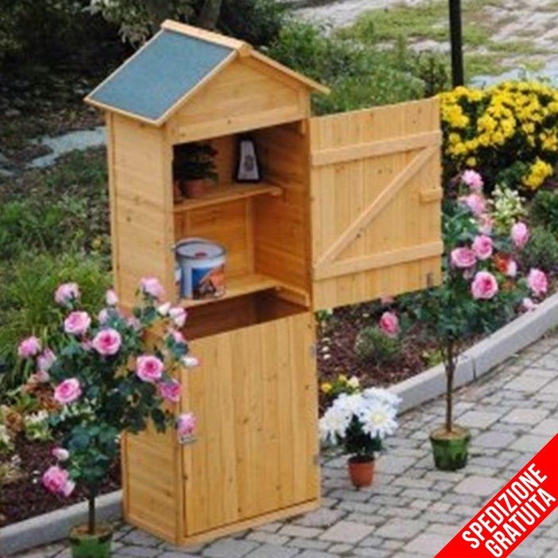 Armadio in legno da esterno porta attrezzi per giardino e for Armadi da giardino ikea