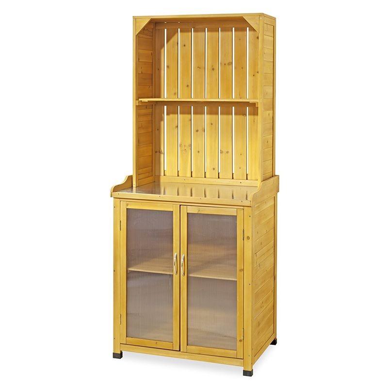 Armadietto da esterno in legno per giardinaggio con mensole - Armadietto legno per esterno ...