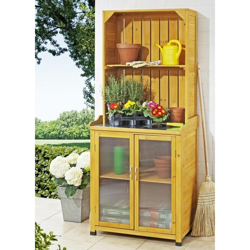 Armadietto da esterno in legno per giardinaggio con mensole - Mensole da esterno ...