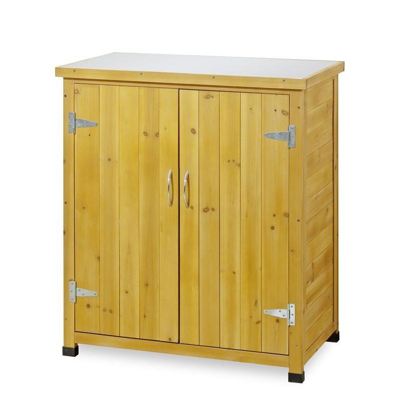 Armadietto da esterno in legno con piano lavoro per giardinaggio - Armadi per esterno in legno ...