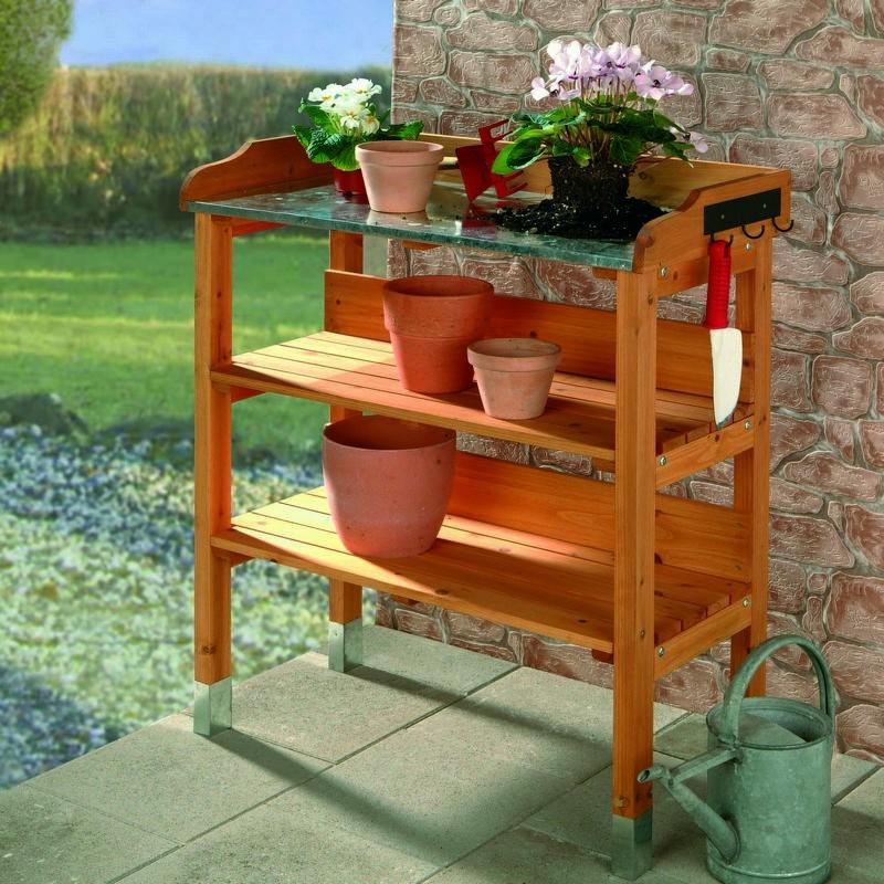 Banco da lavoro in legno da esterno per giardinaggio e fai - Banco da lavoro cucina legno ...