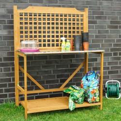 Banco da lavoro in legno pieghevole da esterno per giardinaggio e fai da te