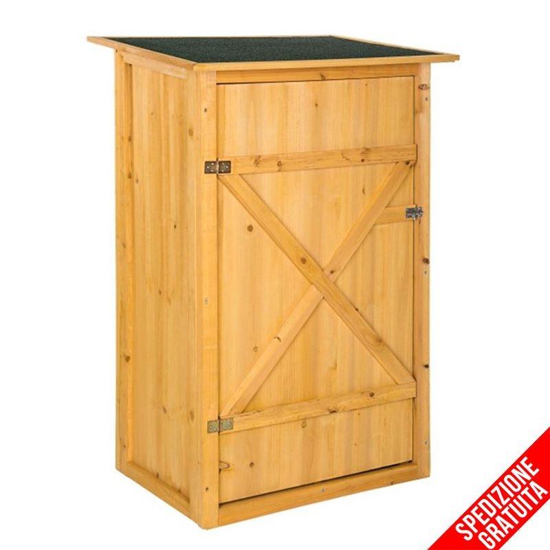 Armadietto in legno da esterno porta attrezzi per giardino e balcone - Armadietto plastica per esterno ...