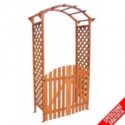 Arco per rampicanti con cancello in legno e pannelli in grigliato da giardino