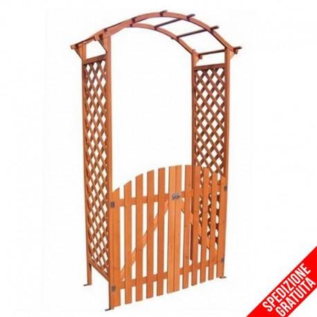 Arco per rampicanti con cancello e grigliato in legno da for Cancelli di legno per giardino