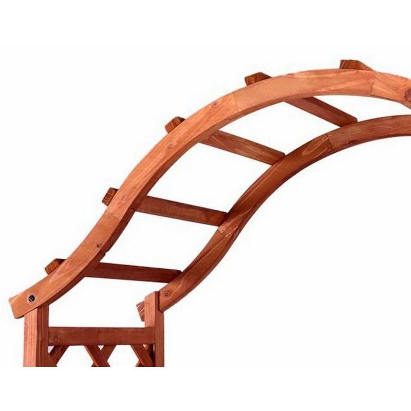 Arco per rampicanti grigliato e fioriere in legno da for Arco decorativo giardino