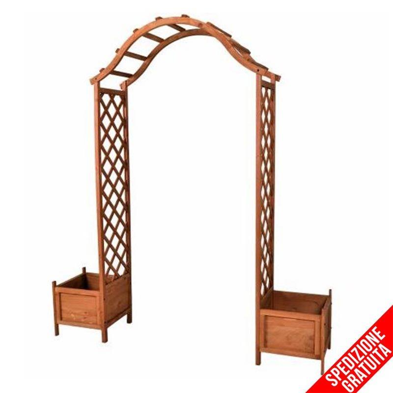 Arco per rampicanti grigliato e fioriere in legno da esterno giardino