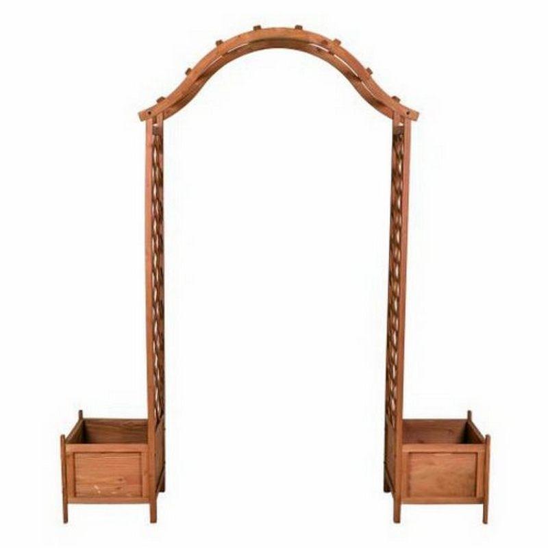Arco per rampicanti grigliato e fioriere in legno da esterno giardino - Fioriere in legno per giardino ...