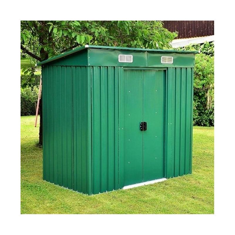 Casetta porta attrezzi in lamiera da giardino con tetto ad una falda - Porta attrezzi da giardino in legno ...