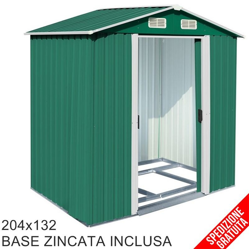 Casette Per Attrezzi In Plastica.Casetta Porta Attrezzi Da Giardino In Lamiera Verde 204x132