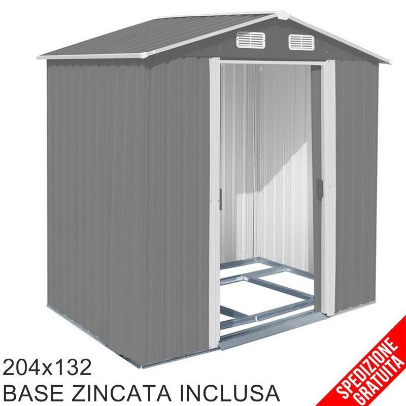 Casette Da Giardino In Metallo.Casetta Porta Attrezzi Da Giardino In Lamiera Grigia 204x132