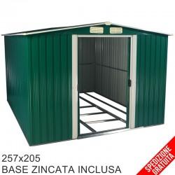 Casetta porta attrezzi da giardino in lamiera verde 257x205