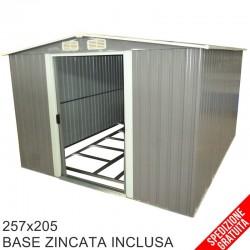 Casetta porta attrezzi da giardino in lamiera grigia 257x205