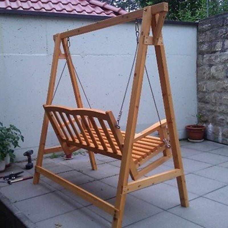 Dondolo da giardino in legno a 2 posti con tettoia in - Dondolo per esterno ...