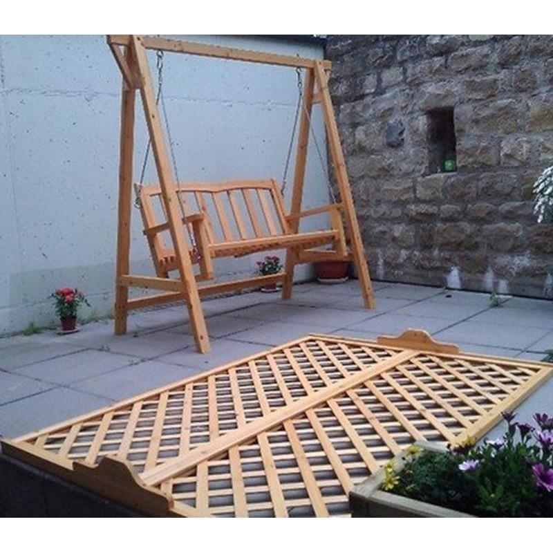 Dondolo da giardino in legno a 2 posti con tettoia in grigliato - Dondolo da giardino usato ...