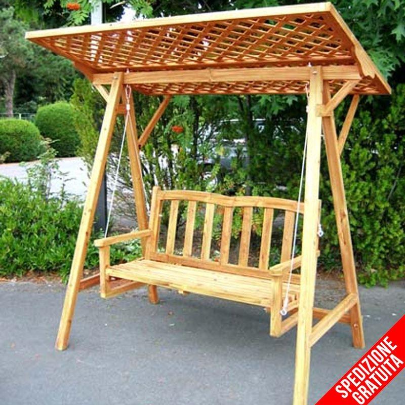 Dondolo da giardino in legno a 2 posti con tettoia in for Panchina a dondolo