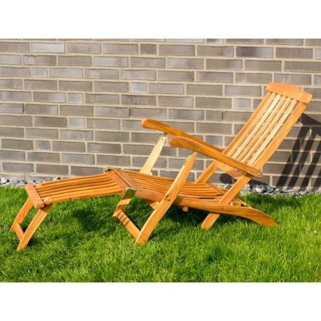 Sedia sdraio da giardino in legno con braccioli e poggiapiedi for Sdraio da giardino