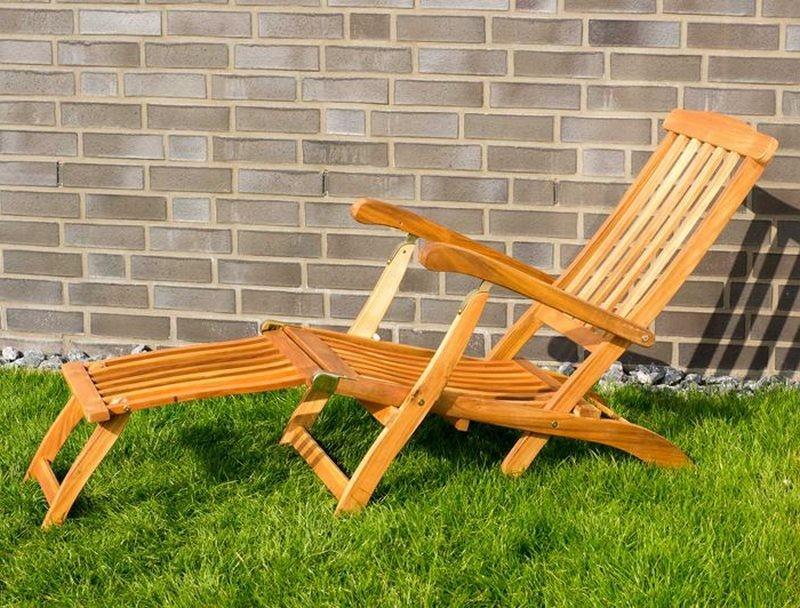 Sedie A Sdraio In Legno : Sedia sdraio da giardino in legno con braccioli e poggiapiedi
