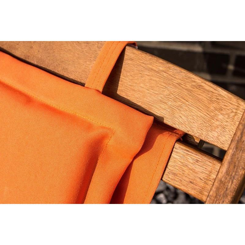 Tessuti Per Sedie A Sdraio.Sdraio Da Giardino Pieghevole In Legno Tessuto Arancione Con Cuscino