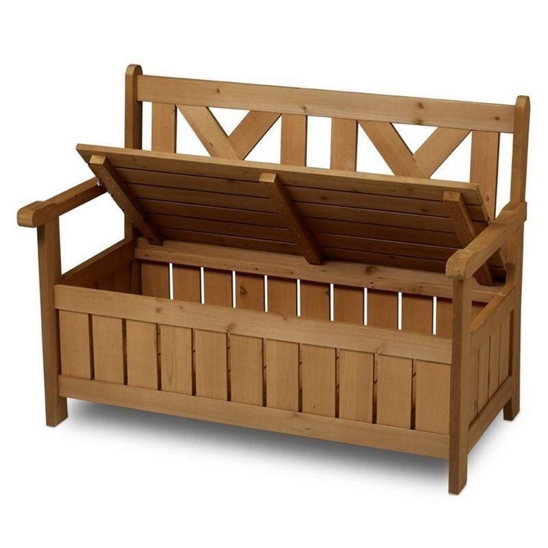 panchina contenitore da esterno e cassapanca in legno per