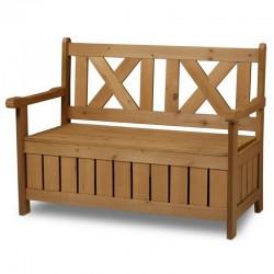 Panchina contenitore da esterno in legno a cassapanca