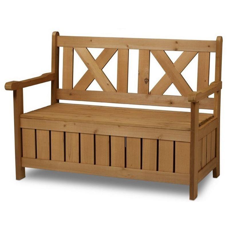 Panchina contenitore da esterno e cassapanca in legno per - Panca portaoggetti ...