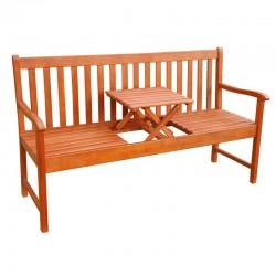 Panchina da giardino in legno con tavolino a scomparsa