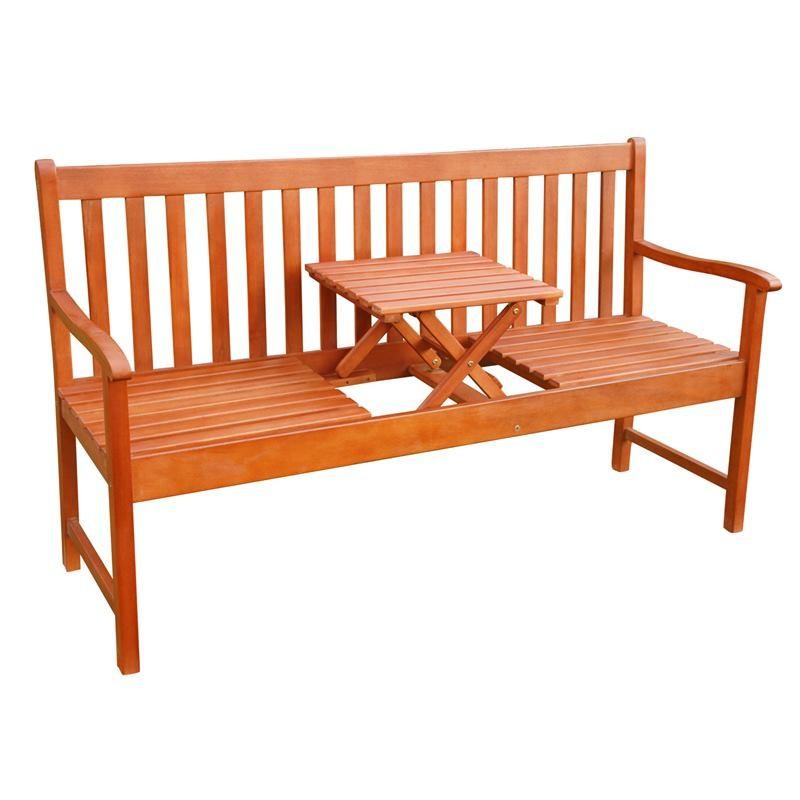Panchina In Legno Da Giardino.Panchina Da Giardino In Legno A 3 Posti Con Tavolino A Scomparsa