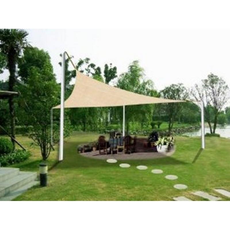 Vele ombreggianti triangolari da giardino in poliestere beige for Vele ombreggianti