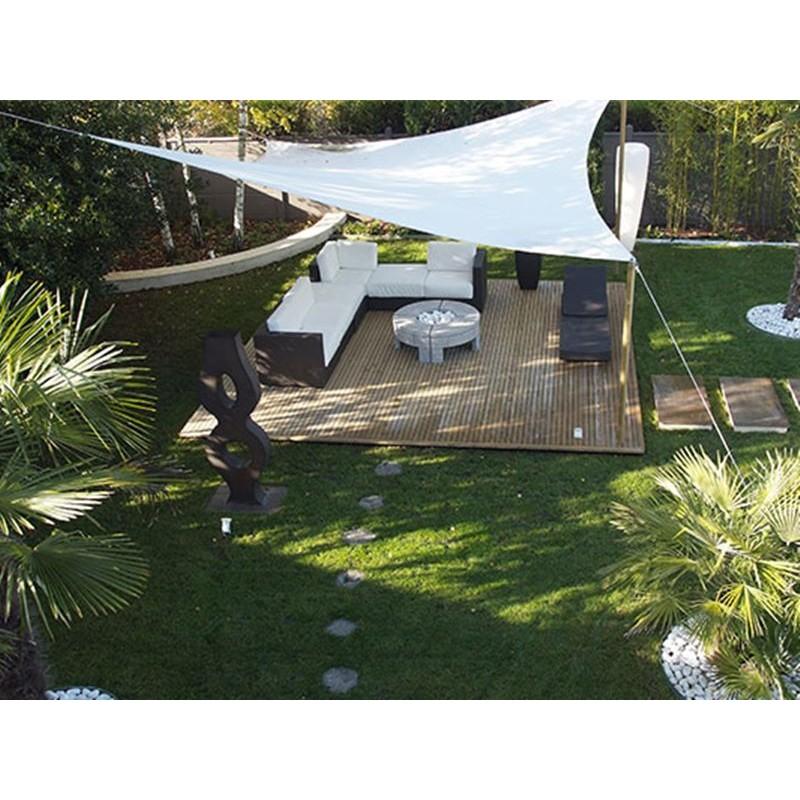 Vela ombreggiante triangolare da giardino hdpe traspirante bianco - Vele ombreggianti da giardino ...