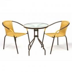 Set bistrot tavolo e 2 sedie gialle per arredamento esterno bar