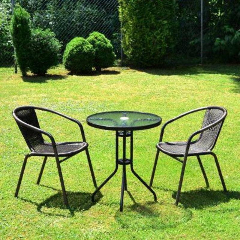 Set bistrot tavolino e 2 sedie marroni per arredamento for Arredamento bar tavoli e sedie