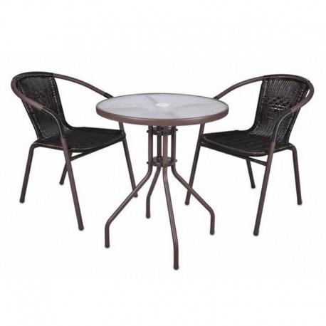 Set bistrot tavolino e 2 sedie marroni per arredamento esterno bar