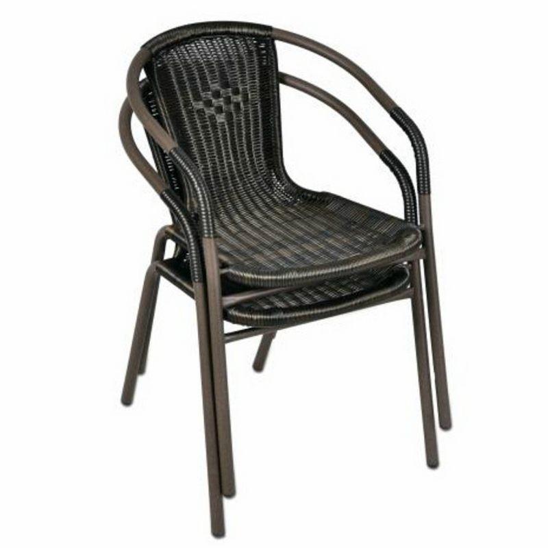 Sedie bistrot per arredamento esterno bar in polyrattan marrone - Tavoli e sedie da bar ...