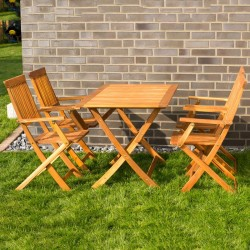Tavolo e 4 sedie con braccioli da giardino in legno pieghevoli