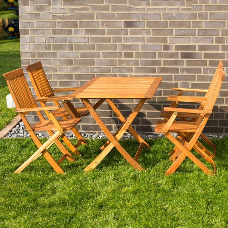 Tavolo e sedie con braccioli da giardino in legno pieghevoli for Tavolo giardino