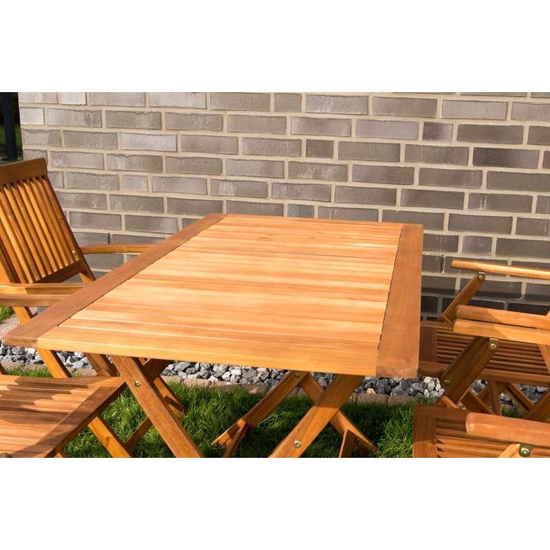 Tavolo e sedie con braccioli da giardino in legno pieghevoli for Tavolo e sedie terrazzo