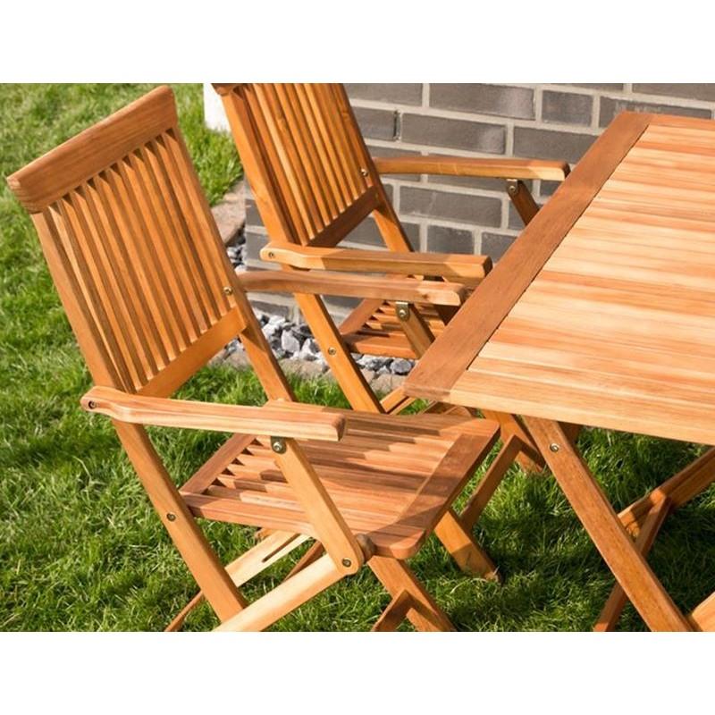 Tavolo e sedie con braccioli da giardino in legno pieghevoli - Tavolo con sedie da giardino offerte ...