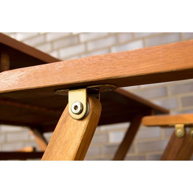 Tavolo e sedie con braccioli da giardino in legno pieghevoli