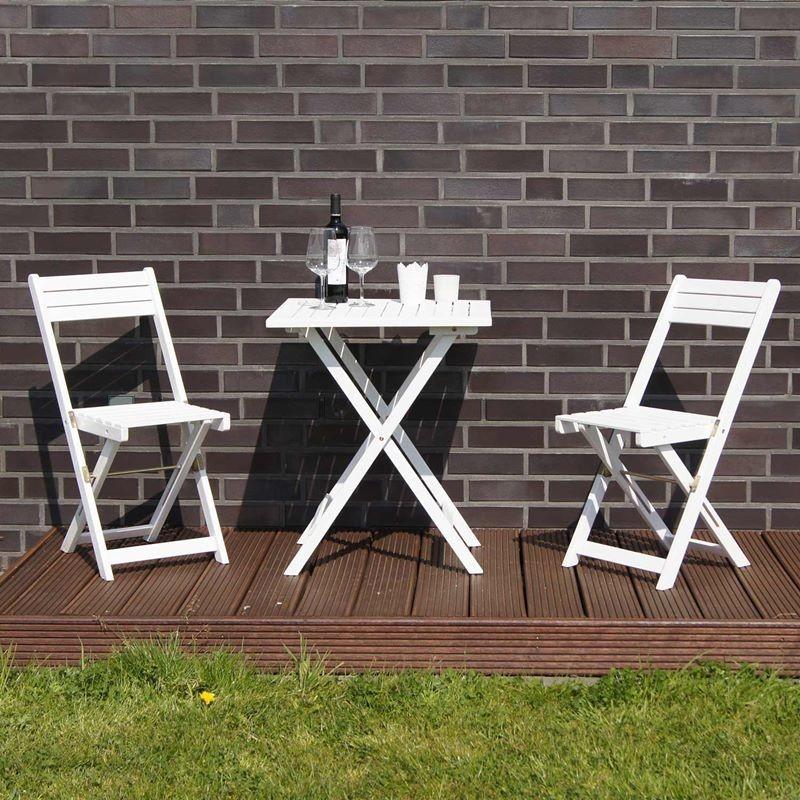 Tavolo Da Esterno In Legno Pieghevole.Set Bistrot Tavolo E Sedie In Legno Pieghevoli Verniciato Bianco