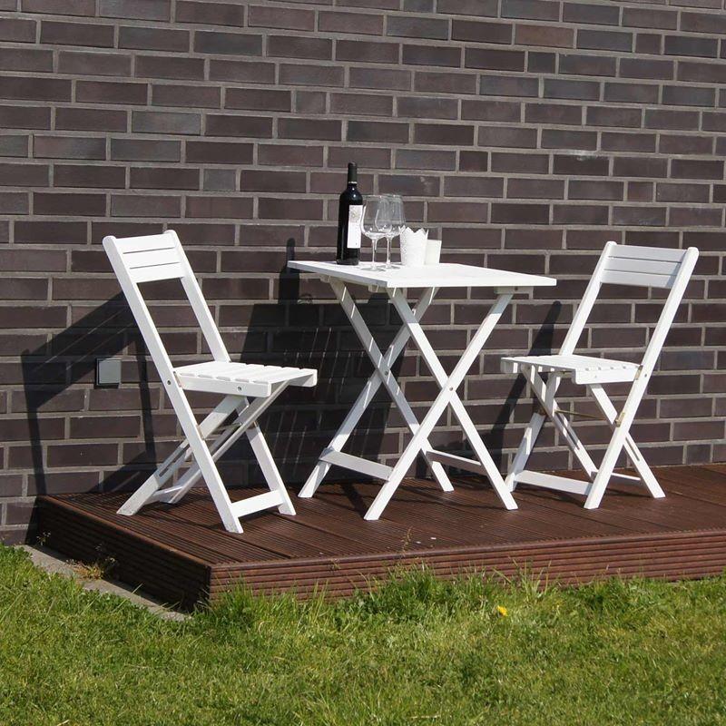 Set bistrot tavolo e sedie in legno pieghevoli verniciato for Tavolo e sedie terrazzo
