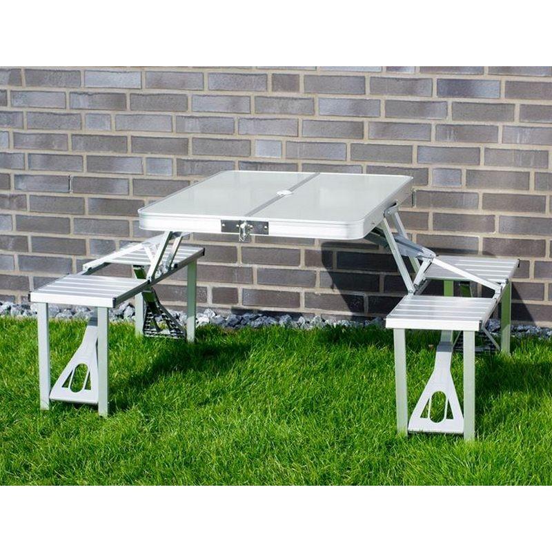 Tavolo e sedie in alluminio pieghevole per campeggio o pic nic for Sedie in alluminio
