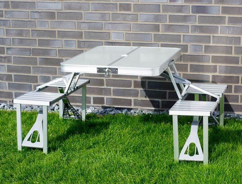 Tavoli Pieghevoli In Alluminio.Tavolo E Sedie In Alluminio Pieghevole Per Campeggio O Pic Nic