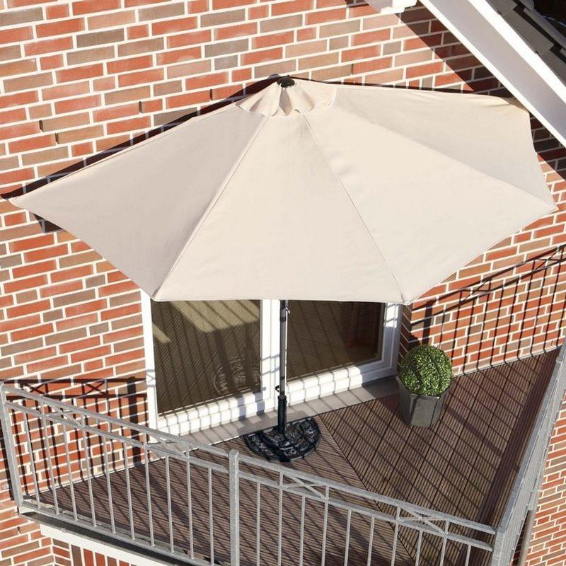 Ombrellone da parete per balcone o terrazzo mezzaluna beige