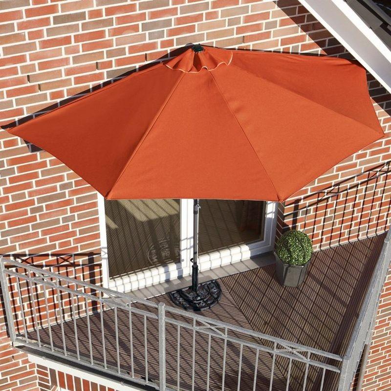 Ombrellone da balcone o terrazzo a muro mezzaluna terracotta