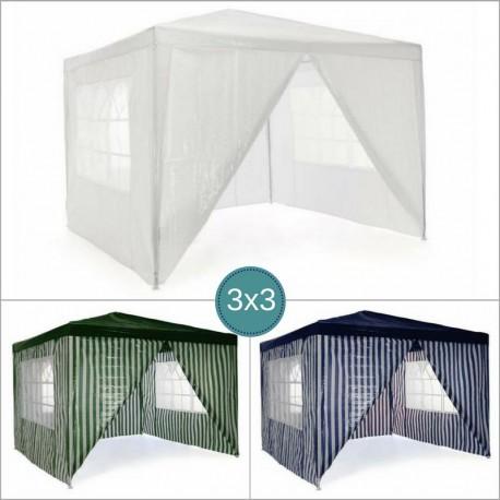 Gazebo da giardino o per campeggio 3x3 con teli laterali for Teli laghetti artificiali