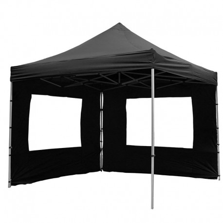 gazebo pieghevole portatile in alluminio per fiere mercatini 3x3 nero. Black Bedroom Furniture Sets. Home Design Ideas