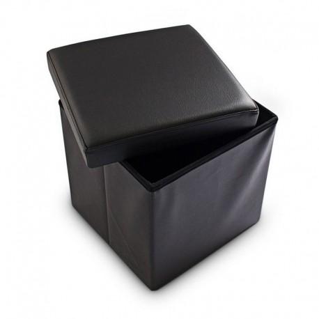Pouf contenitore in ecopelle quadrato